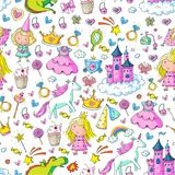 Cute princess Icons set with unicorn, dragon Girl wallpaper Baby shower Invitation Kindergarten, preschool, nursery. Big Bundle cute collection of beautiful Stock Photography