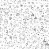 Cute princess Icons set with unicorn, dragon Girl wallpaper Baby shower Invitation Kindergarten, preschool, nursery Stock Photo