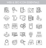 Big bundle of essential basic line art icons. For seo, web, e-commerce, online business and internet marketing. Basic icon kit for web and app design Royalty Free Stock Photography