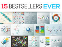 Big bundle of 15 modern infographic design templates. Collection of diagram, chart, scheme and workflow elements. Vector illustration for business presentation Royalty Free Stock Image