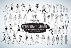 Big bundle people characters doodles black and white icons. Royalty Free Stock Photography