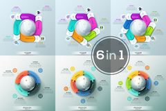 Big bundle of 6 round diagrams with colorful puzzle pieces and rectangular elements placed around globe. Features of. Global processes concept. Unique vector illustration
