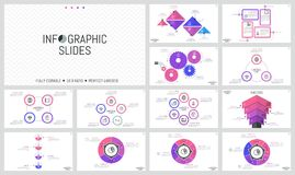 Big bundle of simple infographic design templates. Diagrams with round, triangular and rectangular elements, gear wheels. Thin line symbols and text boxes Royalty Free Stock Photos