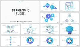 Big bundle of simple infographic design templates. Diagrams with round, triangular and rectangular elements, gear wheels. Thin line symbols and text boxes Stock Photos