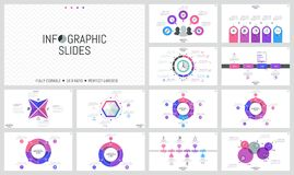 Big bundle of simple infographic design templates. Round charts divided into sectors, horizontal timelines, colorful. Diagrams with thin line icons and text Royalty Free Stock Photos