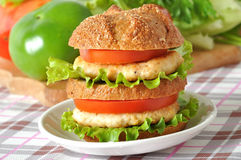 Big burger. With cutlet and vegetables stock images
