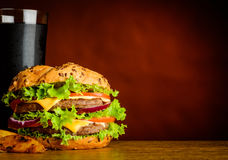 Big Burger and Cold Cola on Copy Space Area Stock Photo
