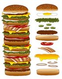 Big burger and components Royalty Free Stock Images