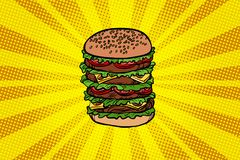 Big Burger fast food. Pop art retro vector illustration Stock Photo