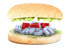 The big burger fat. The big burger with fat written Stock Image