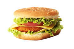 Big burger isolated on white. Big burger isolated on a white stock photos