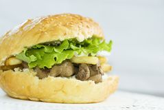 Big burger with liver Stock Photos