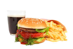 Big burger with potato and cola Royalty Free Stock Photo