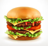 Big burger, vector icon. On white background Stock Photos