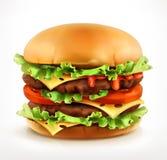 Big burger, vector icon Stock Photos