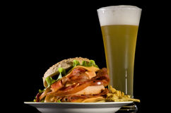 Big Burger and Wheat Beer Royalty Free Stock Photo