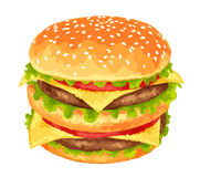 Big burger on white background Royalty Free Stock Images