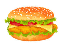 Big burger on white background Stock Photos