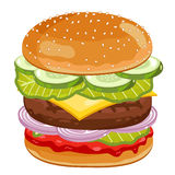 Big Burger on white background. Royalty Free Stock Images
