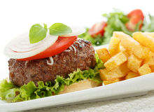 Big burger wih fries  Royalty Free Stock Photography