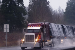 Big burgundy rig in rain on high way Stock Photography