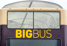 Big Bus in the city. A transportation with the words Big Bus. and it is big royalty free stock photo