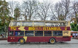 Big Bus on old street in Istanbul stock photography