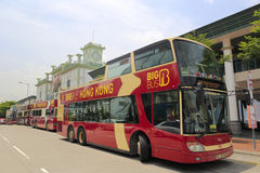 Big bus out of ferry terminal Royalty Free Stock Photo