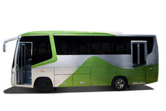 Big bus for public transportation. Green bus with big size for public transportation, isolated over white background Stock Photography