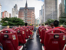 On the Big Bus Tour of Hong Kong Stock Photo