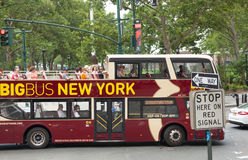 Big Bus with tourists in Manhattan Stock Photos