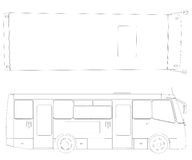 Big bus. Wire frame Royalty Free Stock Image