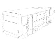 Big bus. Wire frame Stock Photo