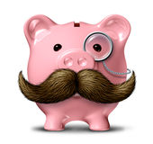 Big Business. And financial wealth symbol as a piggy bank with a big mustache and a monocle as a finance concept of getting rich by saving money on a white royalty free illustration