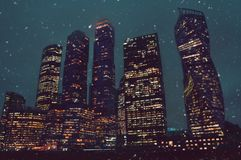 Big business city towers in Moscow in winter royalty free stock images