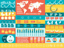 Big business flat infographic elements set for Royalty Free Stock Photos