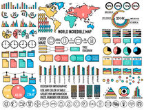 Big business flat  infographics and chart elementc elements set. Vector illustration concept. Stroke style design Stock Photo
