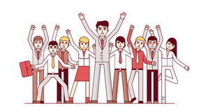 Big business team celebrating huge success. Big team celebrating huge success and business achievements. Standing together and waving hands. Modern flat style Royalty Free Stock Photos