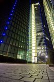 Big Business Tower. Business tower building at night, lined with blue lights Stock Photography