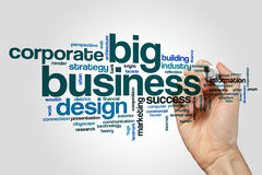 Big business word cloud concept on grey background Royalty Free Stock Photography