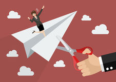Big businessman hand cutting rival paper rocket Stock Image