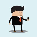 Big businessman has little businessmen in the palm of his hand Royalty Free Stock Images