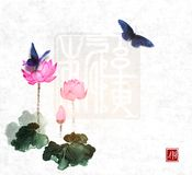 Big butterflies and lotus flowers on rice paper background. Traditional oriental ink painting sumi-e, u-sin, go-hua. Hieroglyph - joy Royalty Free Stock Photos