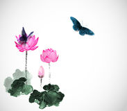 Big butterflies and lotus flowers on white. Traditional oriental ink painting sumi-e, u-sin, go-hua. Big butterflies and lotus flowers on white background Royalty Free Stock Photo