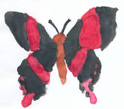 Big butterfly with black wings drawn on paper Royalty Free Stock Photography