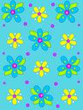 Big Button Blooms on aqua. Aqua background is decorated with big 2D flowers topping bright green leaves.  Pink button center and green polka dots complete flower Stock Photography