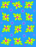 Big Button Blooms on Brilliant Blue. Brilliant blue background is decorated with big 2D flowers topping bright green leaves.  Pink button center and green polka Royalty Free Stock Photo