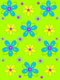 Big Button Blooms on lime green. Lime green background is decorated with big 2D flowers topping bright green leaves.  Pink button center and green polka dots Royalty Free Stock Image