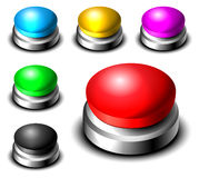 Big button set. In different colors  on white eps10 Royalty Free Stock Photo