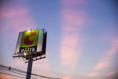 Big C Supercenter Logo with twilight sky. Nonthaburi, Thailand - December 2 2015 : A view from Flyover of Big C department store logo at Nonthaburi, Thailand Royalty Free Stock Photography